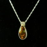Fire Agate Sterling Necklace