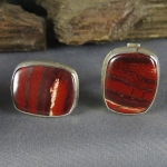 Snakeskin Jasper Sterling Cuff Links